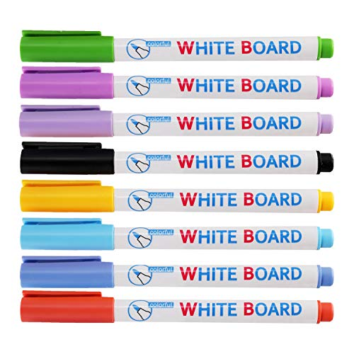 RIANCY Dry Erase Markers,Fine Tip,Washable Whiteboard Markers Erasable Markers,Low-Odor Ink,8 Pack,Assorted Colors for Whiteboards Glass and Most Non-Porous Surfaces (Pack of 8)