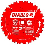 Freud D0724A Diablo 7-1/4-Inch 24 Tooth ATB Framing Saw Blade with 5/8-Inch and Diamond Knockout Arbor, (D0724A)