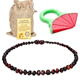 Baby Baltic Amber Teething Necklace Jewelry - (Cherry) Anti-Flammatory, Drooling & Free Teething Toy Pain Reduce - Reduces Tension and Fear, Teething Necklace for 3 to 36 Months Babies,Boys and Girls...