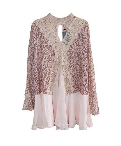 Pink Swing R Vivimos Sleeve Long Dresses Women's Lace See Short Through 0vxS0qd