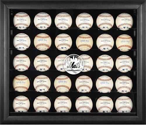 (Mounted Memories New York Mets 30 Ball Mahogany Baseball Display Case )