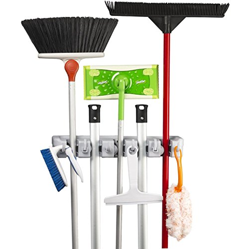 Broom Mop wall Mounted Holder: 5 Position 6 Hooks 11 Tools | House Cleaning Utensils Organiser | Rack Utility Key Holder | Home Storage Solutions for Kitchen Bathroom Closet Toilet Garage Shade