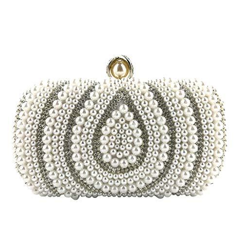 Gogoodgo Womens Clutch Luxury Evening Bags Full Beaded Artificial Pearls Handbag for Wedding Parites Prom White