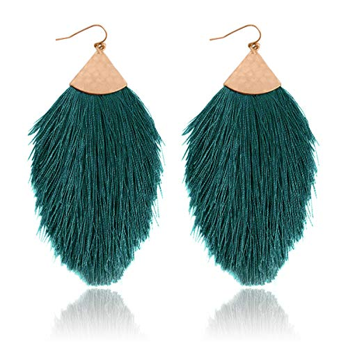 RIAH FASHION Bohemian Silky Thread Tassel Statement Drop Earrings - Strand Fringe Lightweight Feather Shape Hook Dangles/Fan Threader/Triangle Duster (Petal Tassel - Teal Green) ()