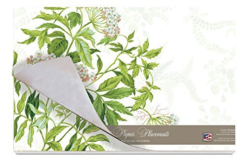 Cala Home 24-Pack Disposable Paper Placemats, Williamsburg Meadow Fern