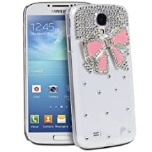 Fosmon GEM Series 3D Ribbon, Rhinestone Flower, Bow Bling Design Case for Samsung Galaxy S4 IV / i9500 - Fosmon Retail Packaging (Bow 3D Design, Clear and Pink)