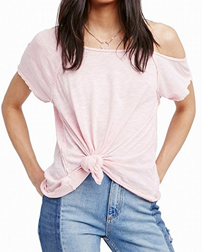 We The Free Womens Coraline Modal Blend Off The Shoulder Casual Top Pink L