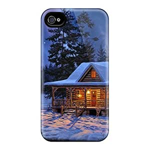 New Design Shatterproof AWEwvOY6037spKOg Case For Iphone 4/4s (a Small Cottage In The Snowy Woods)
