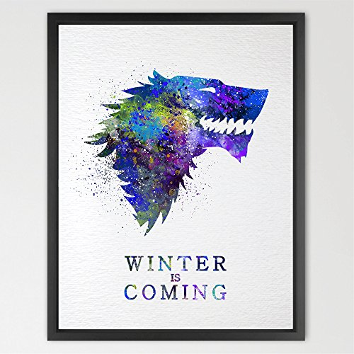 Dignovel Studios 13X19 House Stark Watercolor Print Game Of Thrones Art Wall Hanging Giclee Movie Poster Home