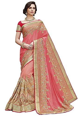 (Magneitta Women's Clothing Saree Collection Georgette Wedding With Blouse Piece Free Size Multi Coloured)