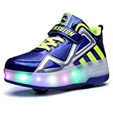 Ufatansy Uforme Kids Boys Girls High-Top Shoes LED Light Up Sneakers Single Wheel Double Wheel Roller Skate Shoes (4 M US=CN36,...