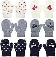 Qkurt 6pcs Toddler Magic Stretch Mittens, Unisex Knit Mitten Kids Mitten Winter Mitten for Daily Wear
