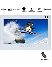 Haocrown 27 inch LED Smart TV for Bathroom IP66 Waterproof Android System Television with Wi-Fi(White)