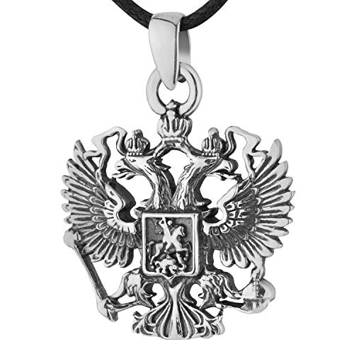 925 Sterling Silver Double Headed Eagle Pendant Necklace Russian Imperial Symbol Coat of Arms of the Russian Federation Handmade Nostalgic Jewelry for Men