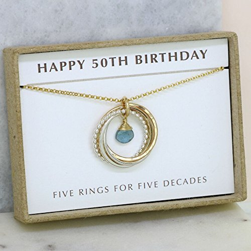 50th Birthday Gift For Her March Birthstone Jewellery Mum