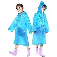 PERTTY 2 Pcs Kids Rain Ponchos Reusable Raincoats Portable Rain Wear with Hat Hood Unisex for 6-12 Years Old Children