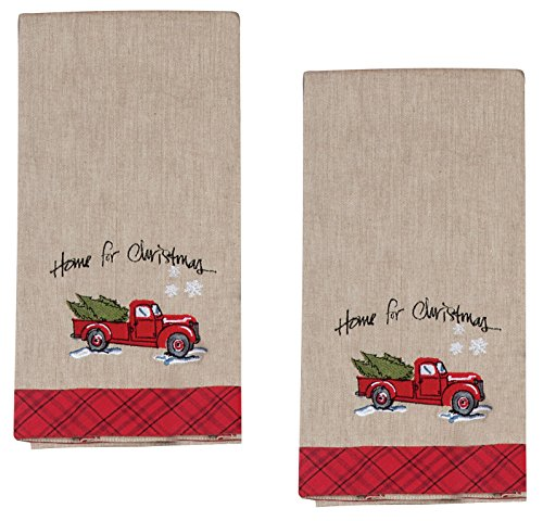 Home for Christmas Embroidered Tea Towel Farm Truck with Tree Snowflakes, Set of 2 (Towels Tea Snowflake)