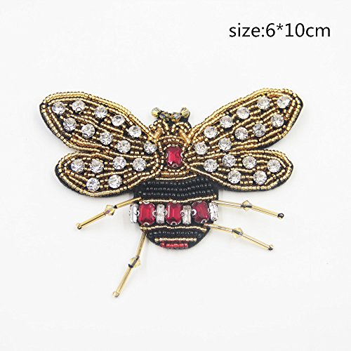 DIY Bees Patch(1pc)Rhinestone for Clothing Iron Embroidered Patch Applique Iron on Patches Sewing Accessories Badge Stickers on Clothes Bags(2.4'' Height - 4''Width) (Rhinestone Iron)