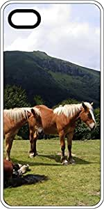 Brown Ponies In Mountain Field White Rubber Decorative iPhone 6 Case by lolosakes