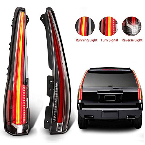 MOSTPLUS LED Tail Lights Rear for Cadillac Escalade 2007-2014 ESV Rear Lamp Assembly with Red Turn Light (Red Clear)