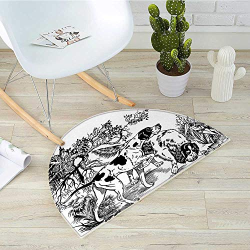 Hunting Half Round Door mats Hunting Dogs in The Forest Monochrome Drawing English Pointer and Setter Breeds Bathroom Mat H 47.2