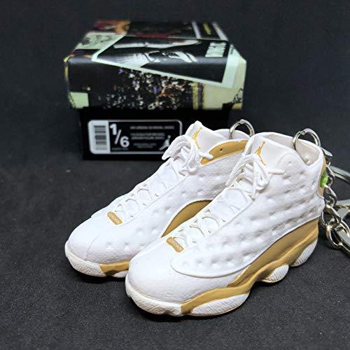 Pair Air Jordan XIII 13 Retro Wheat White Brown OG Sneakers Shoes 3D Keychain 1:6 Figure + Shoe Box (Air Jordan 13 Xiii Retro Wheats White Wheat)