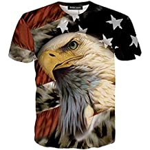 RXBC2011 Men's American Flag Eagle and Cat Printed T-Shirt XS-5XL…