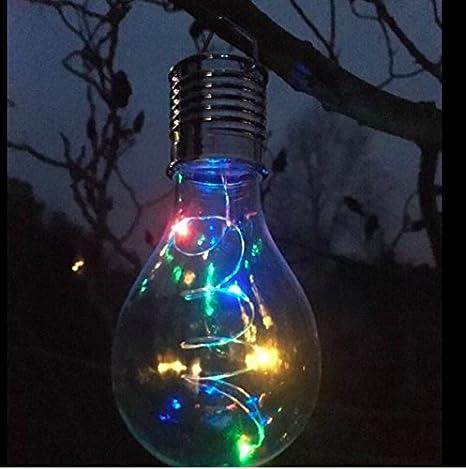 6 Solar Powered MULTICOLOUR CHANGING LED Hanging Light Bulbs Garden Lights