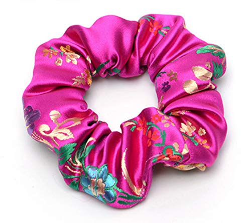 Women Fashion Chinoiserie Smooth Silk Embroidery Floral Hair Accessories Ties Bands Rope Ring Scrunchie Headbands Gum For Hair 10