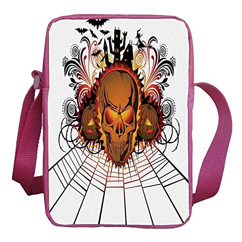 Halloween Decorations Stylish Kids Crossbody Bag,Angry Skull Face on Bonfire Spirits of Other World Concept Bats Spider Web for Girls,9