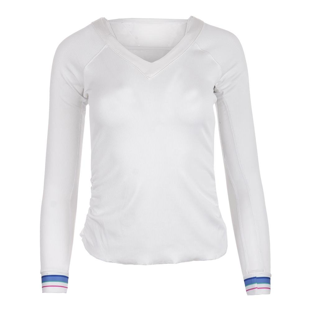 Lucky In Love Women`s Stripe V-Neck Rib Long Sleeve Tennis Top White-(6552958521 by Lucky In Love (Image #2)