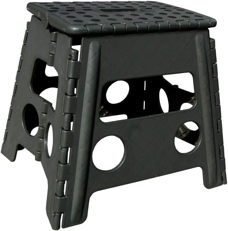 """Folding Step Stool -13"""" Height - Holds up 300 Lbs Lightweight Foldable Stepping Stool is Sturdy Enough to Support & Safe Enough for Adult. Skid Resistant and Open with one flip (13'' Army Green)"""