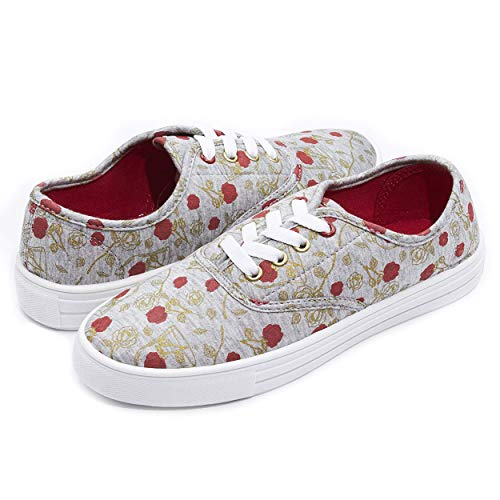 Disney Fairytale Junior Teen Most Comfortable Slip on Sneakers Shoes for Women Heather Grey -