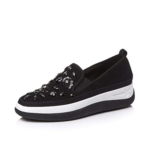Zapatos con Cuentas Rhinestone Ocasionales de Las Mujeres Zapatos de Plataforma Gruesa Zapatos Mocasines Antideslizantes de
