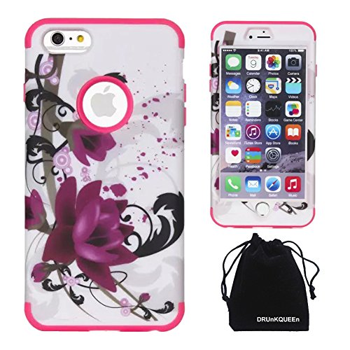 iPhone 6s Plus / iPhone 6 Plus Case, DRUnKQUEEn [Shockproof] Dual-layer Hybrid Lotus Flower Protective Case Cover for iPhone 6sPlus iPhone 6Plus - Rose