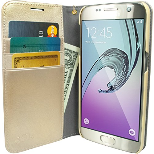 Silk Galaxy S7 Wallet Case - Folio Wallet Case for Galaxy S7- Protective Portfolio Cover with Foldable Kickstand (Platinum Gold) by Silk (Image #7)