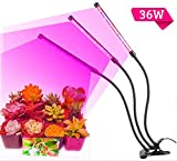High Brightness 36W Light Effect,Three Tube Plant Grow Light, 360 Degree Flexible, 120 ° Beam Angle and Three on/off Switch for Indoor Plants Greenhouse Office, LED Plant Light