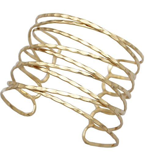 (RechicGu Gold Tone Greek Roman Twisted Cross Cage Bracelet Armband Upper Arm Cuff Armlet Bridal )