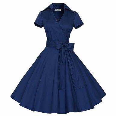 WintCO Damen Rockabilly Kleid 50er Retro Polka Dots Abendkleid Revers  Faltenrock Petticoat Cocktailkleid: Amazon.de: Bekleidung