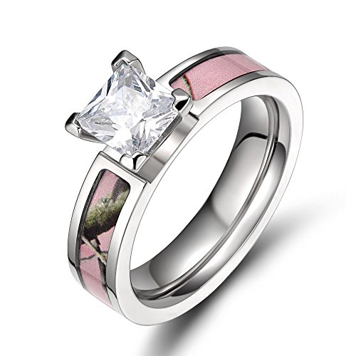 TIGRADE 5mm Womens Pink Camo Titanium Wedding Ring Princess Cz Stone (5)