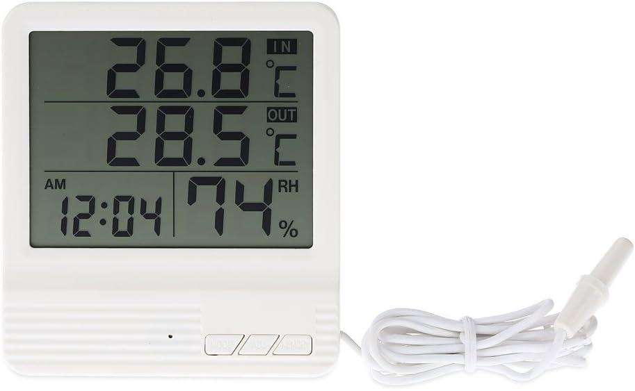 KKmoon LCD Digital Indoor//Outdoor Thermometer Hygrometer Alarm Clock Temperature Humidity Measurement /°C///°F Max Min Value Display
