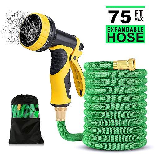 HENGQIANG Garden Hose - 75Ft Expandable Garden Hose - 9 High Pressure Spray Patterns - 3/4