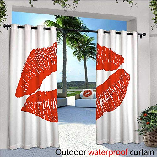 cobeDecor Kiss Patio Curtains Print of Lips Kiss Mark on White Background Seductive Trace with Grunge Display Outdoor Curtain for Patio,Outdoor Patio Curtains W84 x L84 Vermilion White