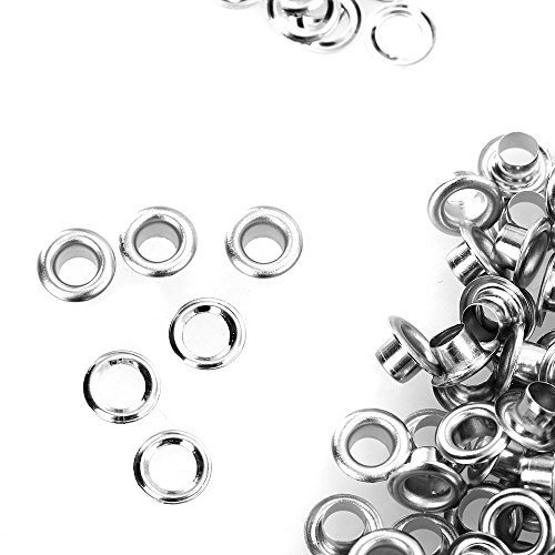 Trimming Shop 100 x Eyelets and Washers - Made from Silver Brass - 4mm Size - Ideal for Dress, Lace or Fabrics
