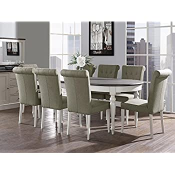 Vegas 9 Piece Extension Oval Dining Table Set for 8 (Parsons Chairs)  sc 1 st  Amazon.com & Amazon.com - Vegas 9 Piece Extension Oval Dining Table Set for 8 ...