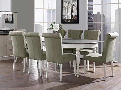 Everhome Designs - Vegas 9 Piece Extension Oval Dining Table Set for 8 (Parsons Chairs)