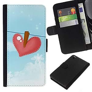 KLONGSHOP // Tirón de la caja Cartera de cuero con ranuras para tarjetas - Azul Heartbreak Dibujo Sad - HTC DESIRE 816 //