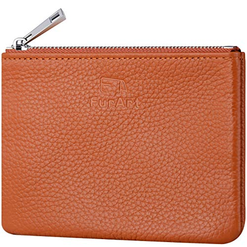 (FurArt Genuine Leather Coin Purse,Change Purse With Zipper,Soft Leather Coin Pouch Mini Size)