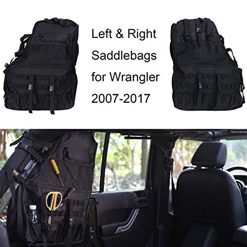 Joytutus For Jeep Wrangler Roll Cage Bar Storage Bag Saddlebag Organizer Tool Kit for JKU 4 Door 2007-2017 by Joytutus