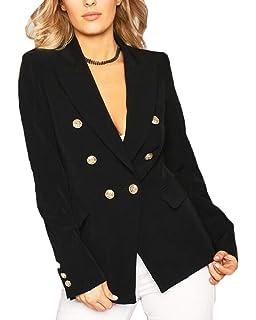 Amazon.com: Abrigo de mujer de doble botonadura estilo ...
